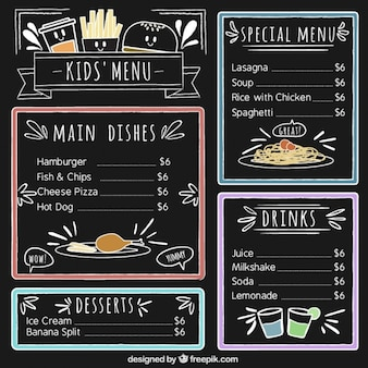 Kid's menu with color details and blackboard background