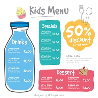 Kid's menu with colorful shapes