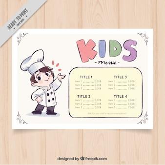 Menù per bambini con lo chef decorativi in stile acquerello