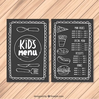 Kid's menu with decorative cutlery and fast food