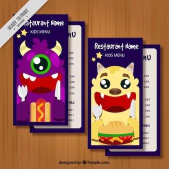 Menù per bambini con grandi mostri colorati