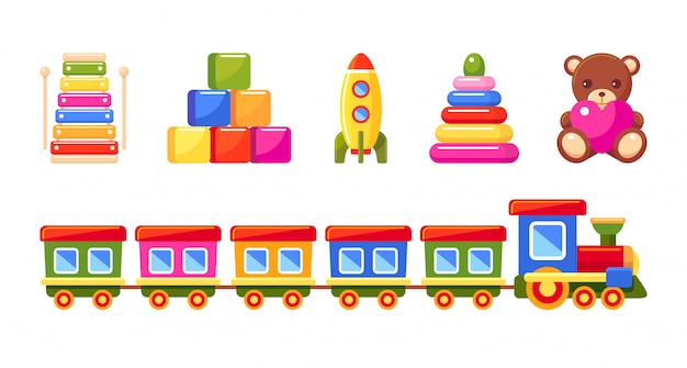 Kid's toys set. train, pyramid, rocket, xylophone, toy blocks and bear. collection for small children.