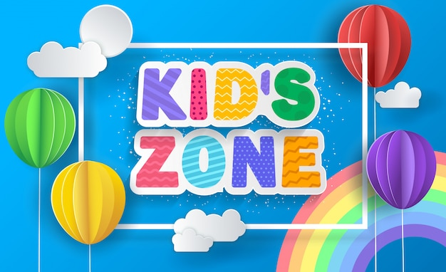Kid's zone concept poster. paper balloons.