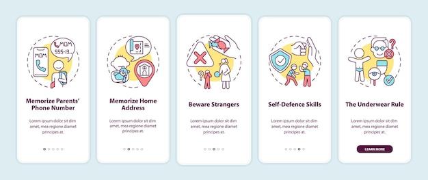 コンセプトイラスト付きの子供の安全オンボーディングモバイルアプリページ画面
