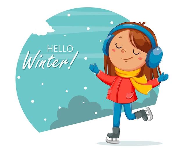 Малыш катается на коньках милая фигуристка девушка мультипликационный персонаж зимний спорт привет зимняя концепция