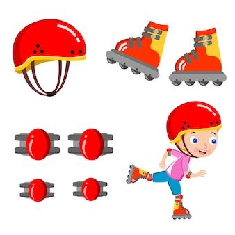 Kid skating scooter helmet happy vector