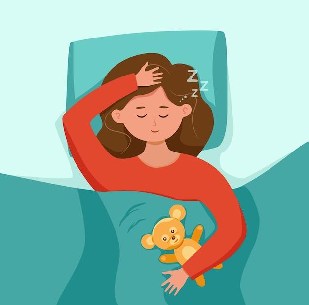 Kid sleep in bed at night illustration