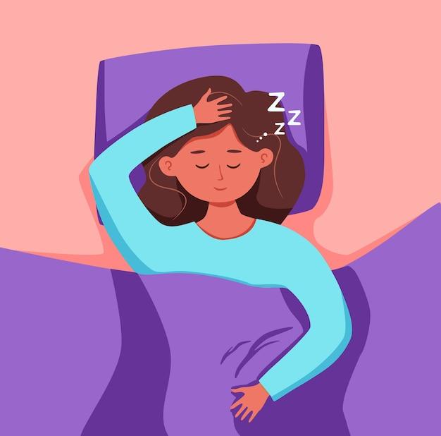 夜のイラストでベッドで寝る子供