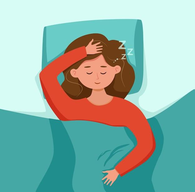 밤 벡터 일러스트 레이 션에 침대에서 아이 잠 달콤한 꿈을 잠옷에 여자 아이