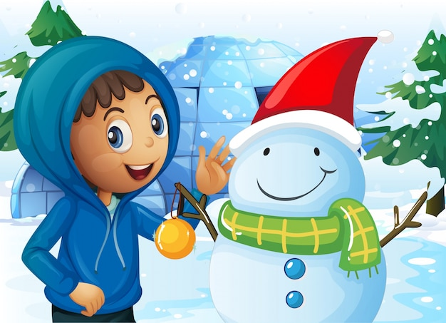 Kid and snowman in the field