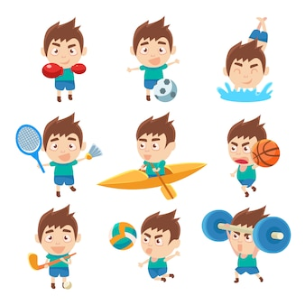 Kid sportsman doing different sport types collectio of illustrations