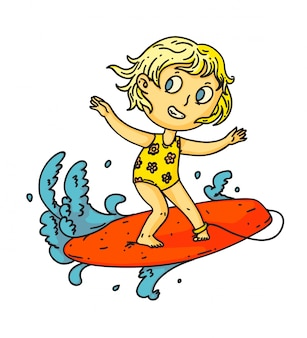 Kid surfing. isolated child girl surfing on surf board on sea or ocean wave. vector kid person cartoon character standing on surfboard. summer vacation sport drawing
