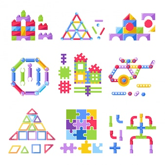 Kid toy constructor building kit for children playthings vector flat icons