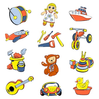 Kid toys or children playthings icons set