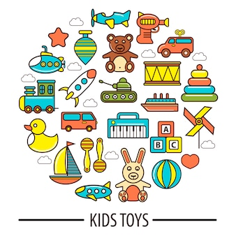 Kid toys or children playthings vector poster