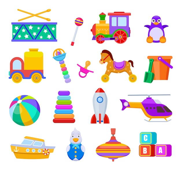 Kid toys. drum and train, penguin and truck, ball and ship, helicopter and rattle, pacifier and cubes, rocket. children toy set. illustration kids toys, rocket, truck, ship and drum