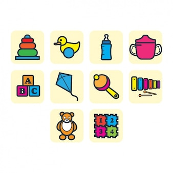 Kid toys icons collection
