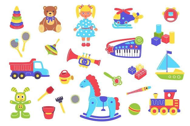 Детские игрушки иллюстрации набор