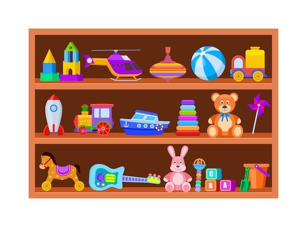 Детские игрушки на полках. детская игрушка на деревянной полке магазина в игровой комнате. мультфильм мяч и поезд, юла и гитара старинный векторный набор. полка с игрушками для детей, погремушка и блок