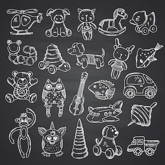 Kid toys set hand drawn and isolated on black chalkboard background illustration