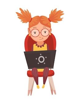 ガジェットを使用している子供。子供と現代技術のカラフルな漫画のキャラクター。かわいい女の子