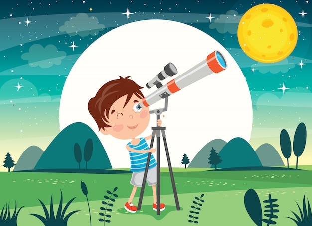 Kid using telescope for astronomical research