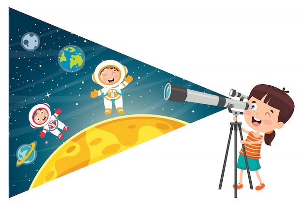 天体研究のための望遠鏡を使用した子供