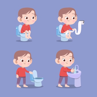 Kid using toilet pooping vector illustration isolated