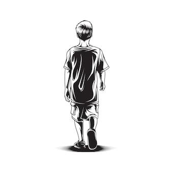 Kid walk view back illustration