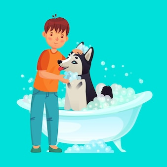 Kid washing dog