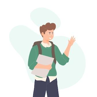 Kid waving hands flat vector illustrations back to school