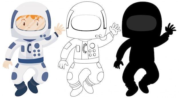 その輪郭とシルエットを持つ宇宙飛行士のコスチュームを着ている子供