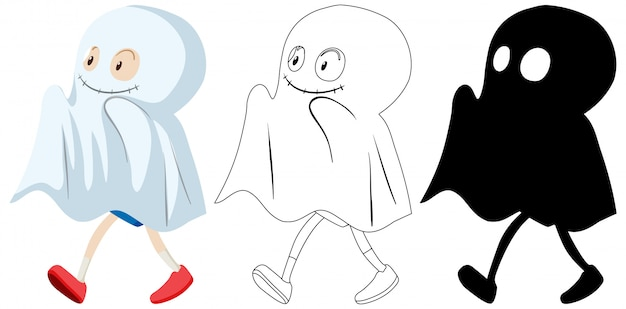 Kid wearing ghost costume in colour and silhouette and outline