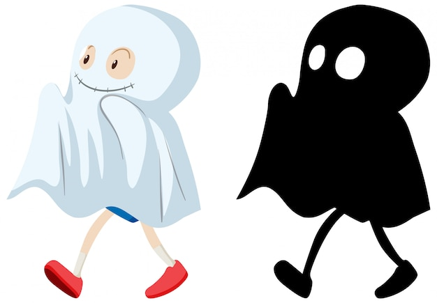 Kid wearing ghost costume in colour and silhouette