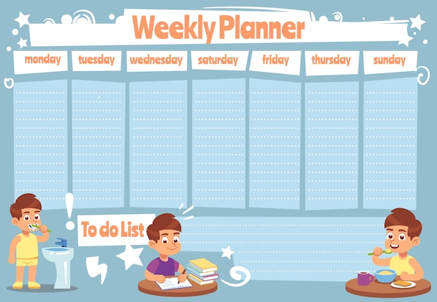 Kid weekly planner. children cute calendar weeks  for to do list notes of school schedule  sticker showers daily template