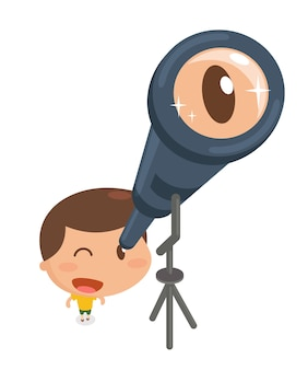 Kid with binocular.