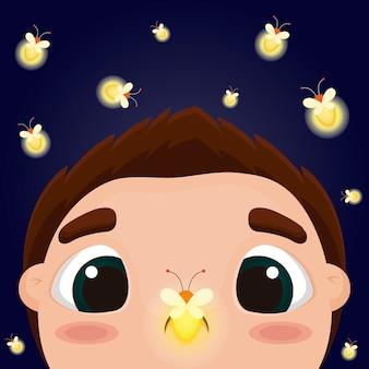 Kid with fireflies