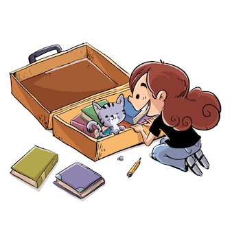 Kid with suitcase full of books and cat illustration