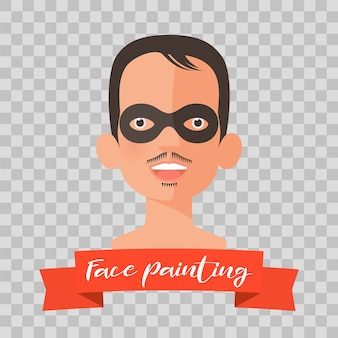 Kid with zorro face painting illustrations on transparent