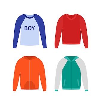 Свитера для мальчика. , джемпер kid пуловер, балахон, изолированные на белом. иконки одежды. иллюстрации шаржа повседневная детская модель. комплект одежды, квартира. эскиз одежды. силуэт одежды