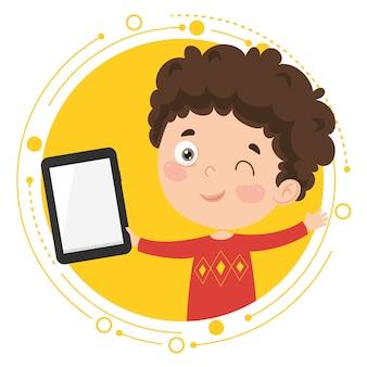 Векторная иллюстрация kid с помощью планшетного пк