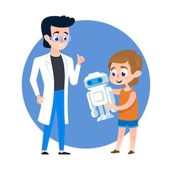 Kid студент с роботом и учителем молодого человека.