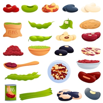 Kidney bean icons set, cartoon style