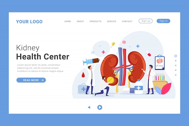 Kidney health center landing page template