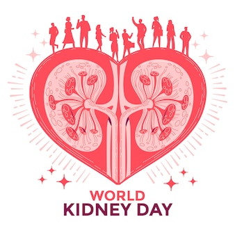 Kidney on the heart with people for world kidney day concept vector illustration