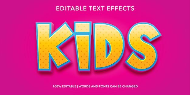 키즈 3d 스타일 편집 가능한 텍스트 효과