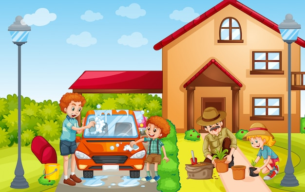Kids and adult washing car and planting tree