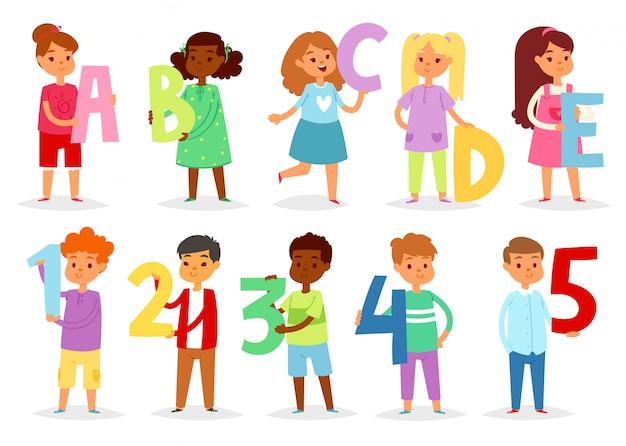 子供のアルファベット漫画子供フォントと男の子または女の子の文字のアルファベット文字または数字のイラストをアルファベット順に設定