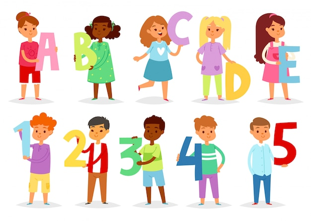Kids alphabet  cartoon children font and boy or girl character holding alphabetic letter or number illustration alphabetically set