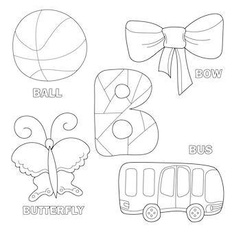 着色するために概説されたクリップアートで本のページを着色する子供のアルファベット。文字b.バス、ボール、弓、蝶。子供の書体のための手描きのアウトライン漫画のキャラクターと文字